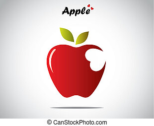 a red colorful shiny apple with green leaves with a heart...