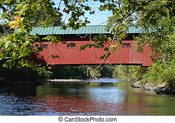 A red covered bridge