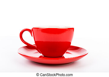 A red cup of coffee isolated on white background