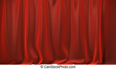 A red curtain lifting up