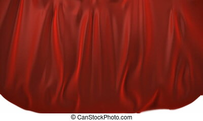 A red curtain rolling down