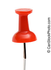 A red drawing pin on a white background