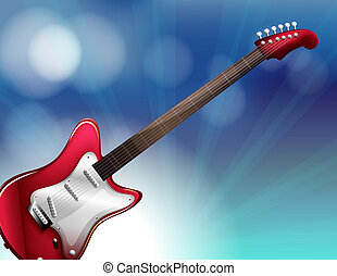 A red electric guitar - Illustration of a red electric...