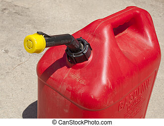 A red  five gallon fuel jug.