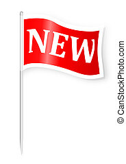 A red flag with the word new