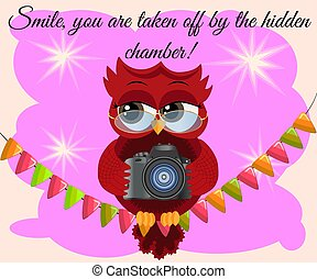 A red flirtatious cartoon owl sits on a garland of flags ...