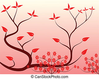 A red floral background