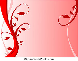 A red floral background with dark red leaves on a lighter...