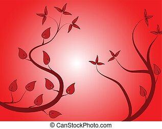 A red floral  vector background