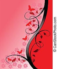 A red floral vector illustration
