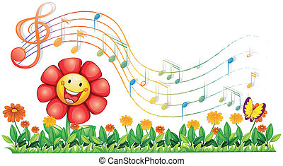 A red flower in the garden with musical notes