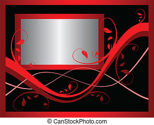 A red formal floral background vector incorporating a silver frame on a black background . Room for text