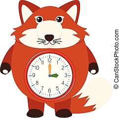 A red fox clock illustration