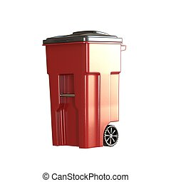A red garbage container on a white background. Isolate.