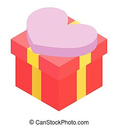 A red gift box isometric 3d icon
