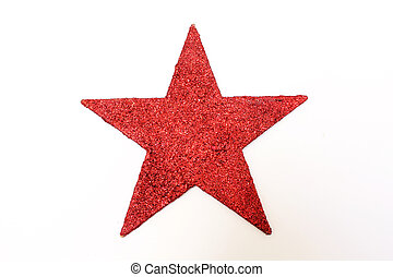 red glitter star - a red glitter star isolated on white...