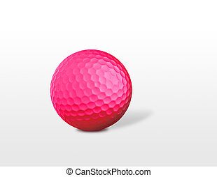 a red golf ball isolated on white background