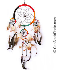 A red, green and black dreamcatcher isolated in white.