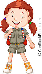 A red haired girl scout character illustration