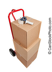 a red hand truck on white with boxes and a tape gun - A red...