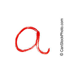 a - Red handwritten letter lower case