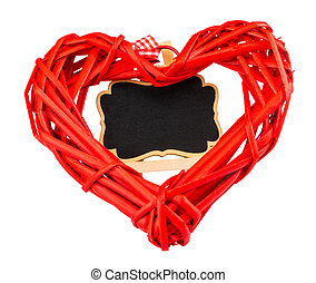 A red heart and a blackboard on white background. Space for text. Valentine's day concept
