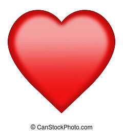 red heart button isolated on white with clipping path