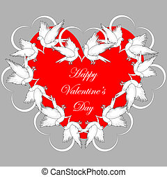 A red heart decorated with flying white doves and smaller hearts. Valentines Day background. Vector-art illustration