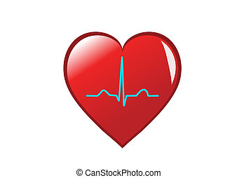 A red heart with a healthy sinus rhythm on it depicting a healthy heart. Isolated on white