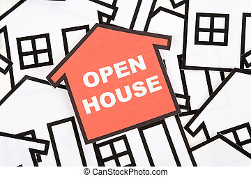 a red home sign, Real Estate Concept ,Open House