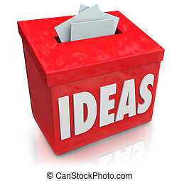 A red Ideas box for submission of creative and innovative thoughts on making a new product or process