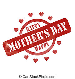 A red ink weathered roughed up circle and hearts stamp design with the words HAPPY MOTHER'S DAY on it making a great concept.