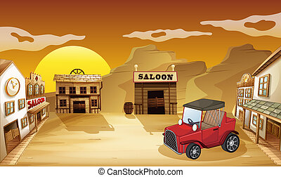 Illustration of a red jeepney outside the saloon
