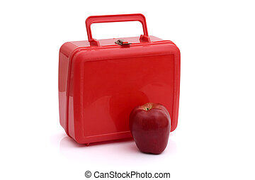 Healthy School Lunch - A red lunchbox with an apple isolated...