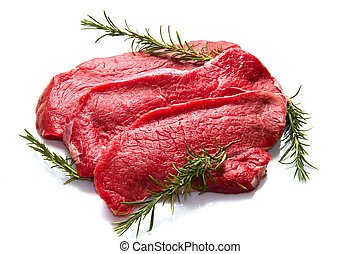 a red meat with rosemary isolated on white background