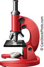 Illustration of a red microscope on a white background