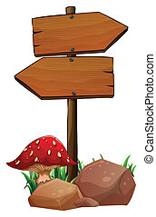 A red mushroom near the wooden arrowboards