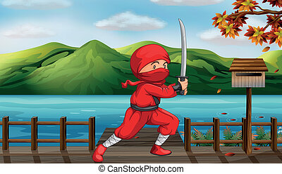 A red ninja beside the wooden mailbox