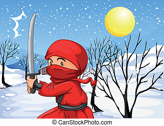 A red ninja in the snow