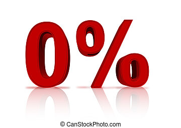Zero Percent Financing - A red number zero with percentage...