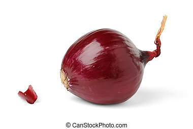 A red onion isolated on white