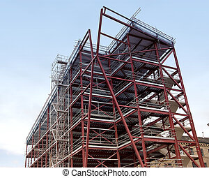 Steel Framed Building - A Red Oxide Painted Steel Framed...