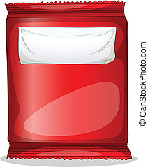 A red packet with an empty label - Illustration of a red...