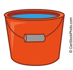 a red pail - a red water pail with water in it