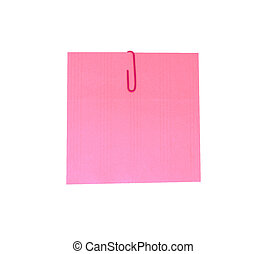 A red paperclip with blank pink notepaper. Pink sheet for your message or adding more text. Memo note with paper clip