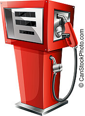 A red petrol pump - Illustration of a red petrol pump on a...
