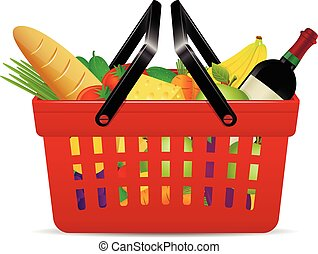 A red plastic shopping basket with groceries