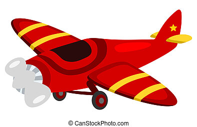 a red propeller plane