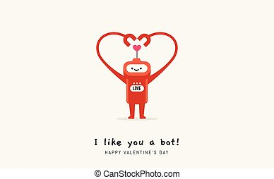 a red robot forming heart shape with the hands