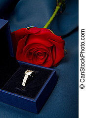 red rose with ring's gift